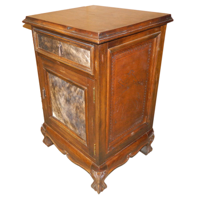 Spanish Heritage Nightstand, Bronco, Hair on Hide, Rustic