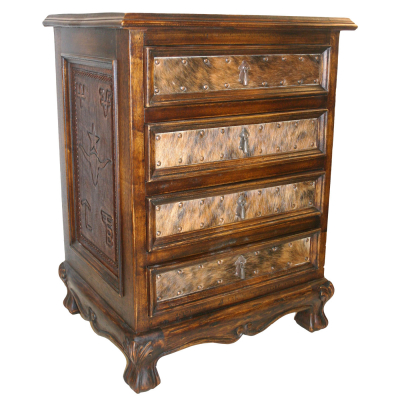 Spanish Nightstand, Four Drawers, Hair on Hide