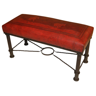 Fernando Iron Bench, Calf Roper, Red