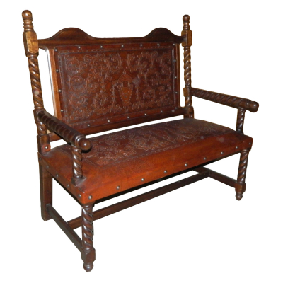 Solomon Bench, with back, Colonial, Antique Brown