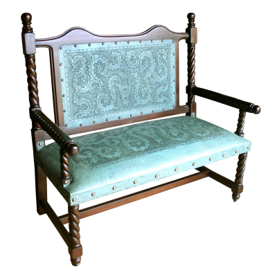 Solomon Bench, with back, Colonial, Turquoise