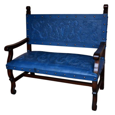 Spanish Heritage Bench, with back, Colonial, Blue