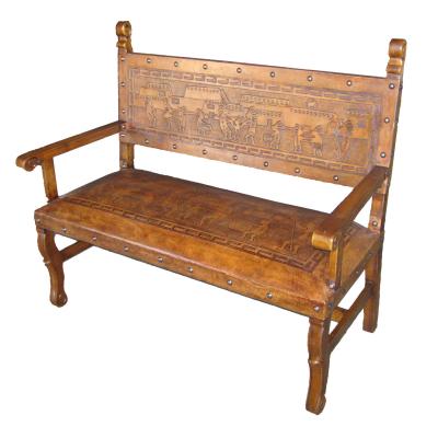 Spanish Heritage Bench, with back, Kokopelli