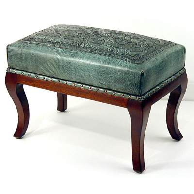 Foot Bench, Leon Cross, Turquoise