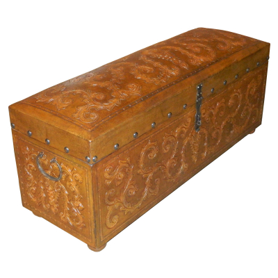 Jumbo Trunk Bench, Colonial, Rustic