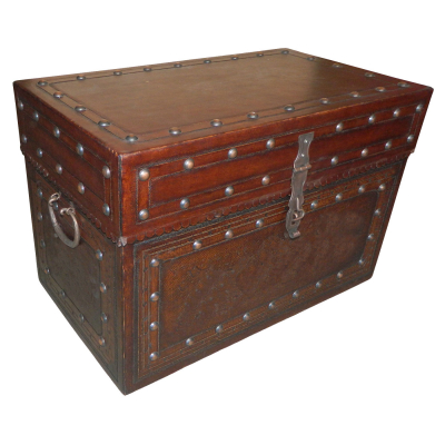 Jumbo Trunk FT, Plain with Tacks, Antique Brown