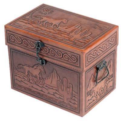 Medium Trunk, Flat Top, Arizona Horses, Antique Brown