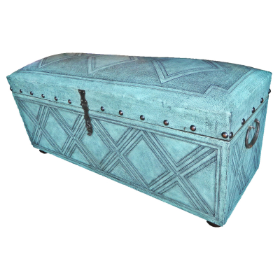 Trunk Bench, Diamond, Turquoise