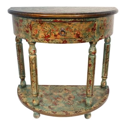 Ricardo Console, Painted Green, Turquoise
