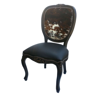 Bonanza Chair, Black seat, Hair on Hide Back
