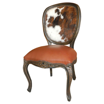 Bonanza Chair, Light Brown Seat, Hair Hide on Back