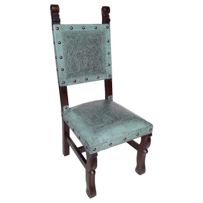 Spanish Heritage Chair, Colonial, Turquoise