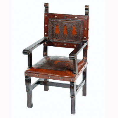 Spanish Heritage Arm Chair, Western, Antique Brown