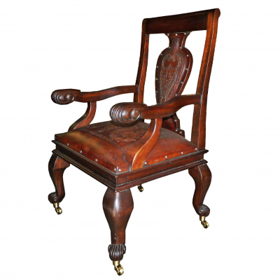 Raphael Arm Chair, with Wheels, Colonial, Antique Brown